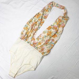 Intimately Free People Floral Halter Bodysuit